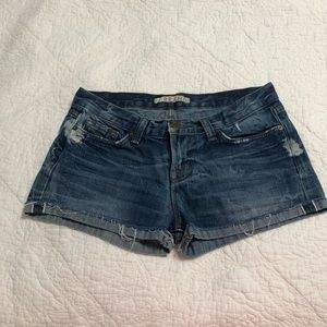 J Brand lightly distressed blue jean shorts